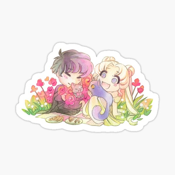 """Sailor Moon """"Easter Bunny"""" Picnic with Mamoru and Cats Sticker"""