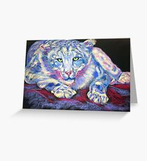 Snow Leopard in Blue Greeting Card
