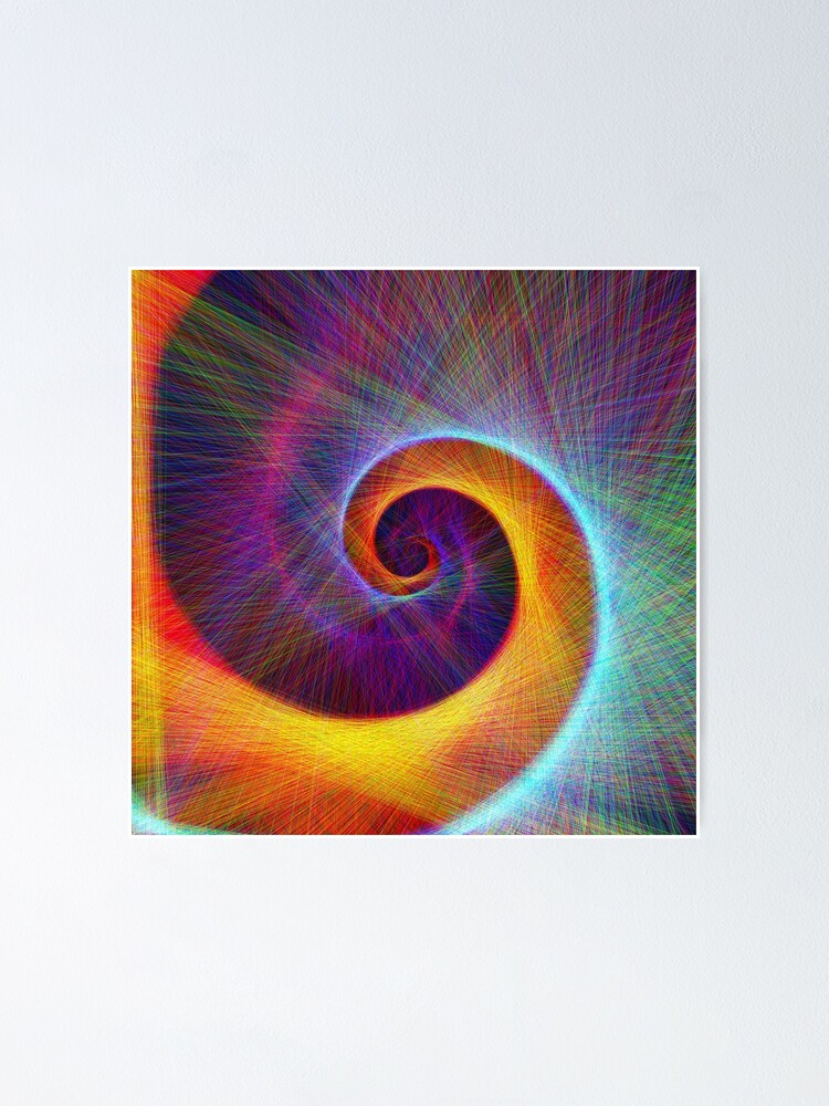 Alternate view of Fibonacci spiral, linify Poster