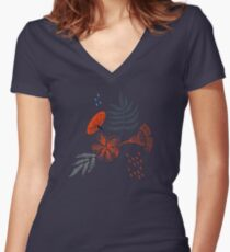 Drawing of a fern leaves and flowers Women's Fitted V-Neck T-Shirt