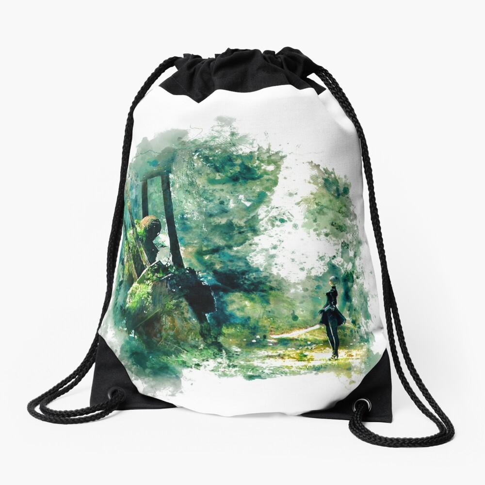 Nier Automata Painting Drawstring Bag