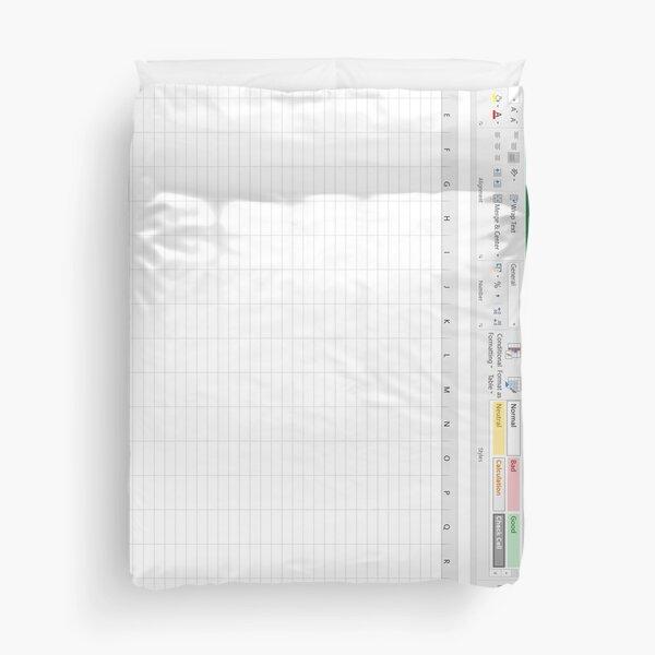 Excel Spreadsheet - Green Duvet Cover
