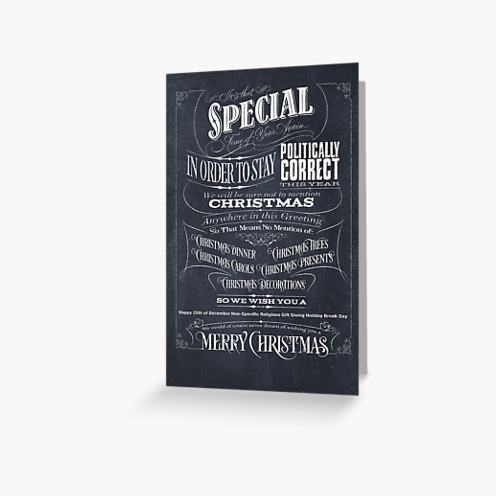 Politically Correct or Incorrect Black Chalkboard Typographic Christmas Card - We Greeting Card