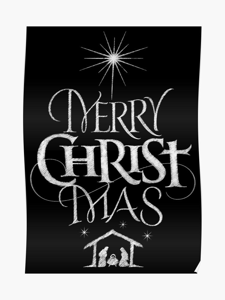 Merry Christmas Christian.Merry Christmas Religious Christian Calligraphy Christ Mas Chalkboard Jesus Nativity Poster