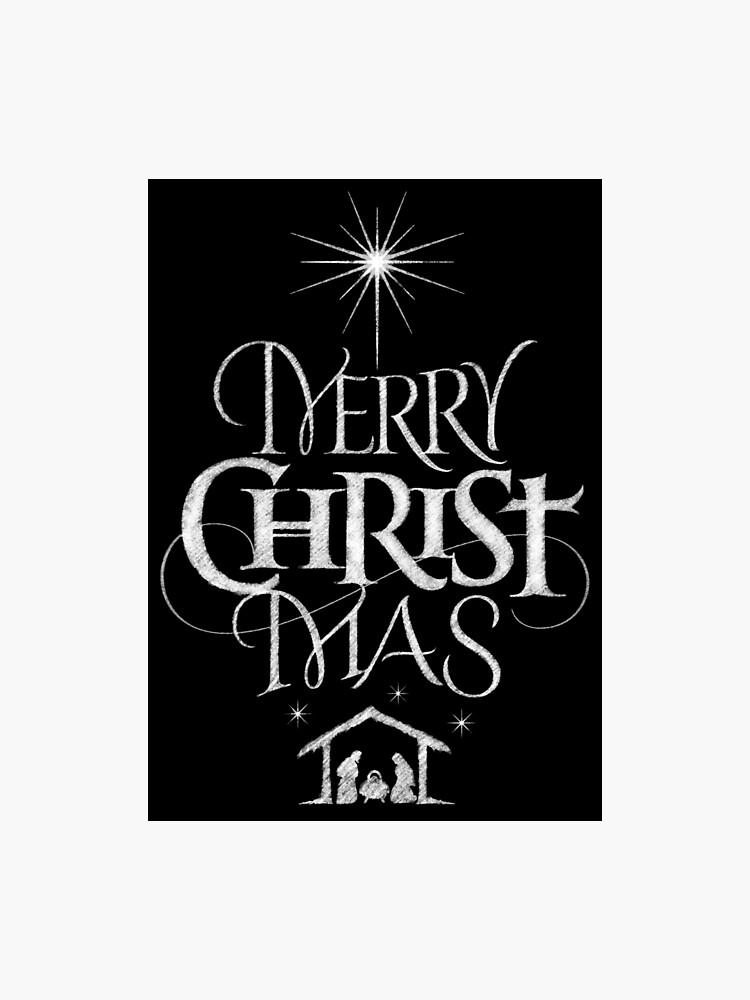 Merry Christmas Religious.Merry Christmas Religious Christian Calligraphy Christ Mas Chalkboard Jesus Nativity Photographic Print