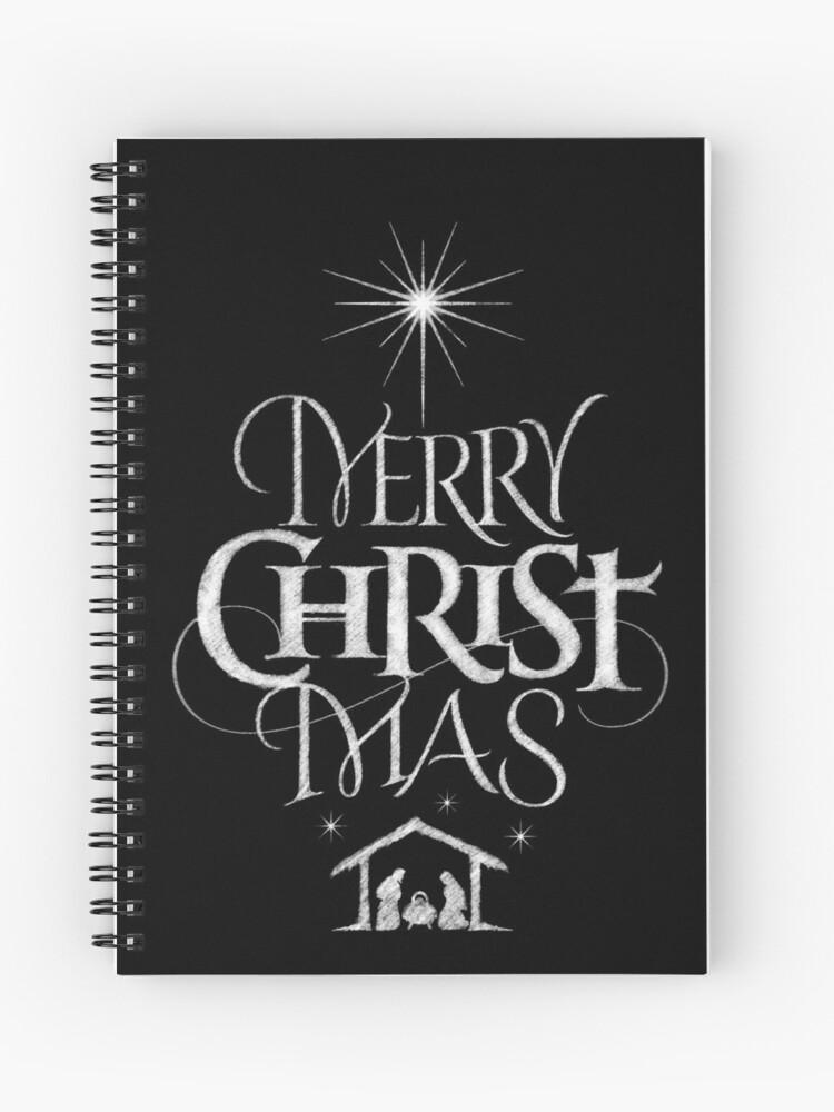 Merry Christmas Religious.Merry Christmas Religious Christian Calligraphy Christ Mas Chalkboard Jesus Nativity Spiral Notebook