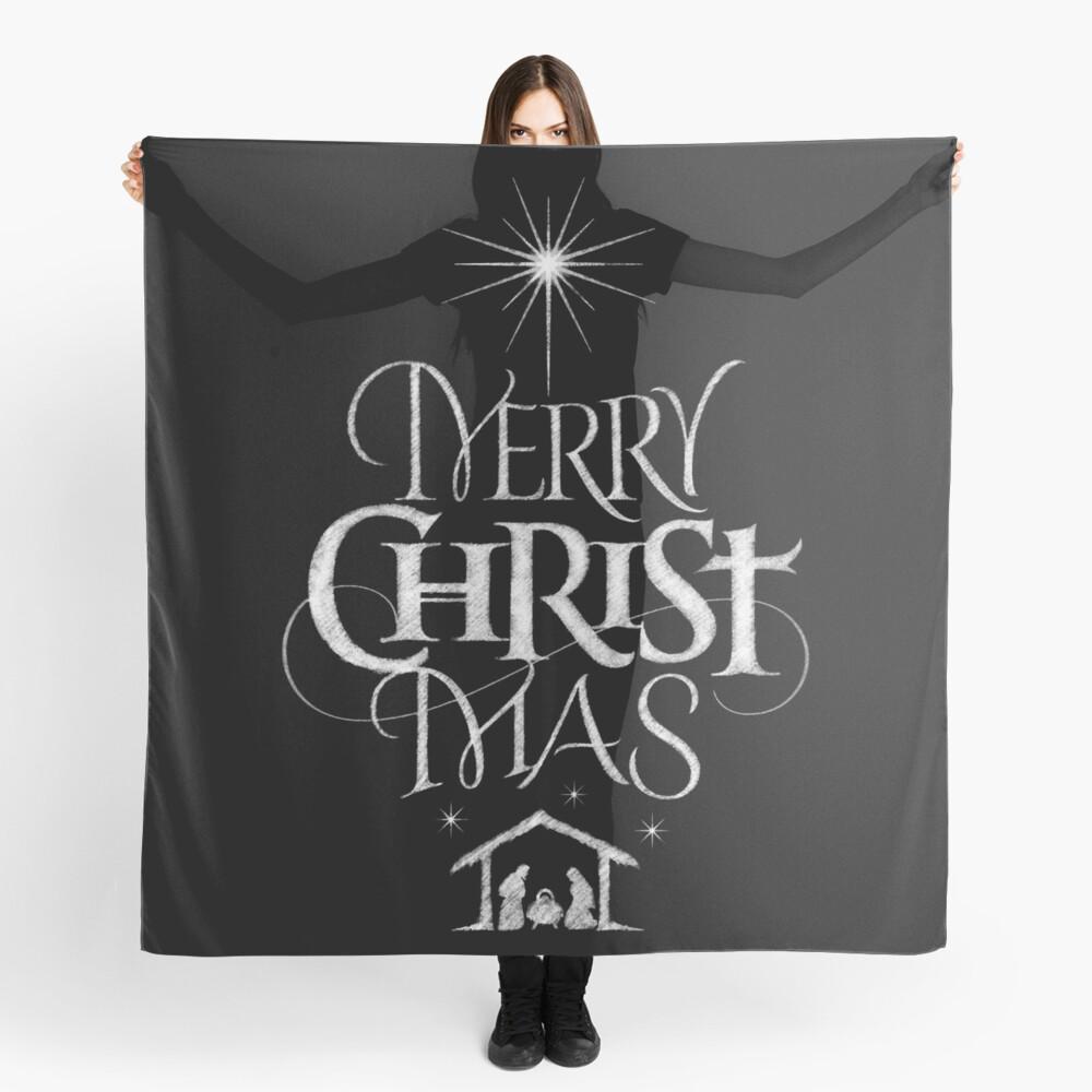Merry Christmas Religious Christian Calligraphy Christ Mas Chalkboard Jesus Nativity Scarf