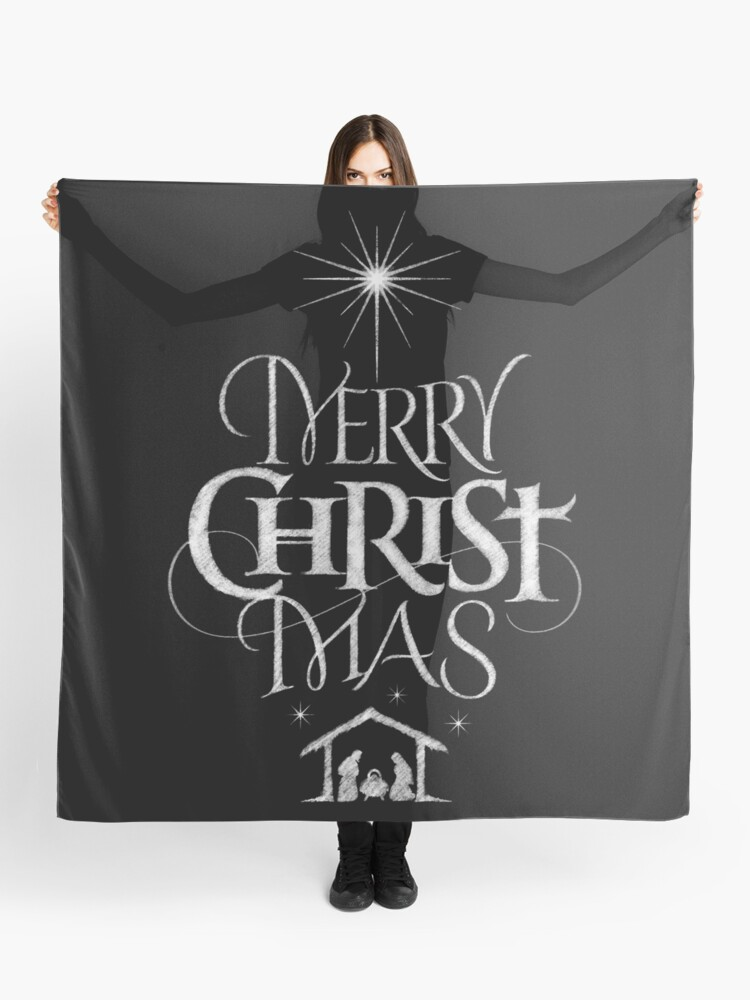 Merry Christmas Religious.Merry Christmas Religious Christian Calligraphy Christ Mas Chalkboard Jesus Nativity Scarf