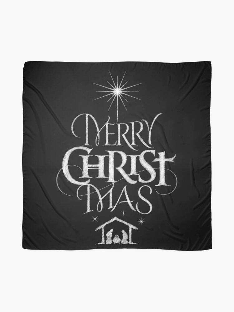 Alternate view of Merry Christmas Religious Christian Calligraphy Christ Mas Chalkboard Jesus Nativity Scarf