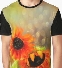 Sunflower Rain Bright Floral Print Graphic T-Shirt