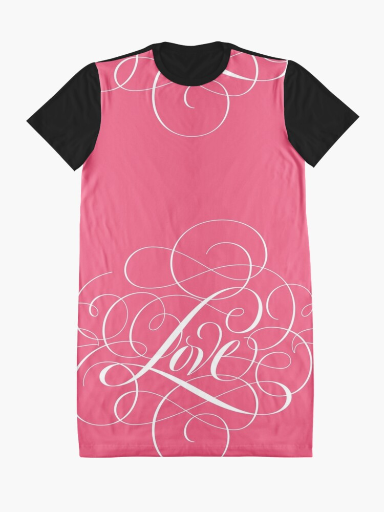 Alternate view of Ornately Flourished 'Love' Calligraphy Script Hand Lettering for Valentine Pink Graphic T-Shirt Dress