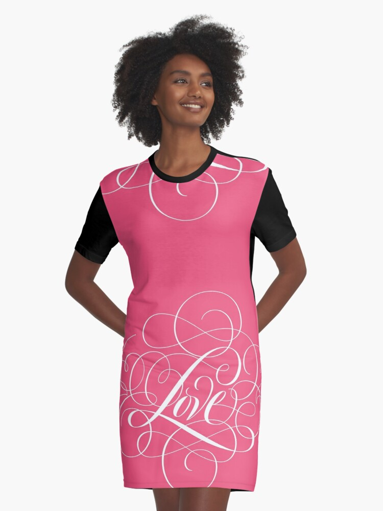 Ornately Flourished 'Love' Calligraphy Script Hand Lettering for Valentine Pink Graphic T-Shirt Dress Front