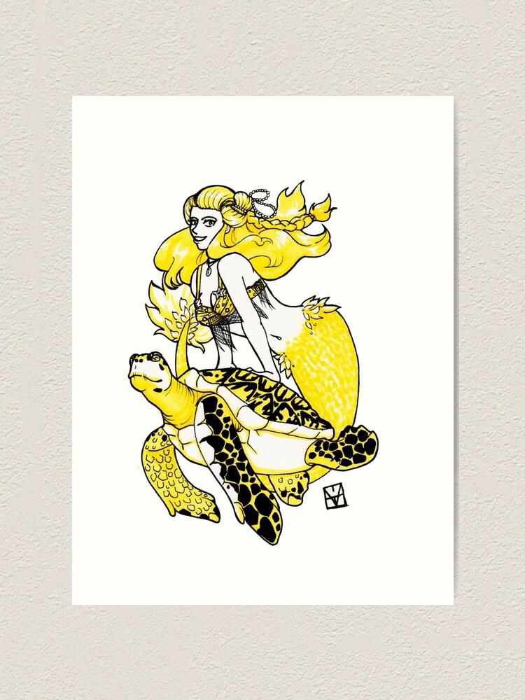 Alternate view of Mermaid & Turtle Art Print