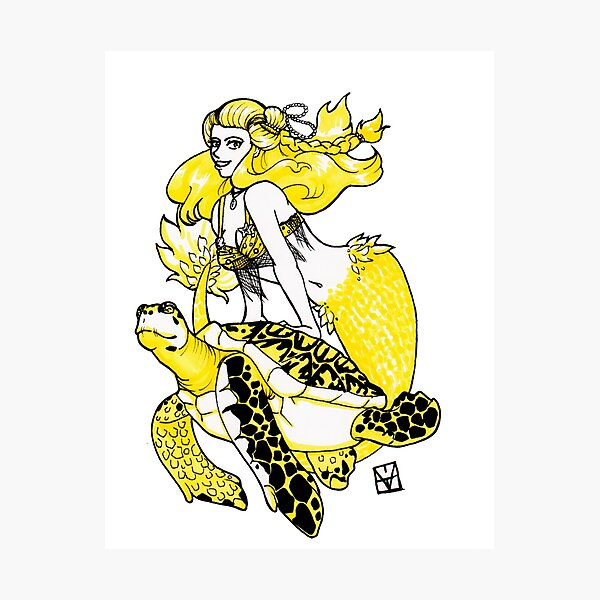 Mermaid & Turtle Photographic Print