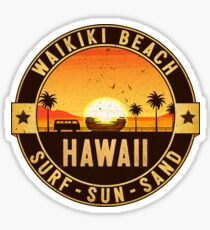 WAIKIKI BEACH HAWAII OAHU SURF SUN SAND SURFING BEACH VACATION VOLKSWAGEN Sticker