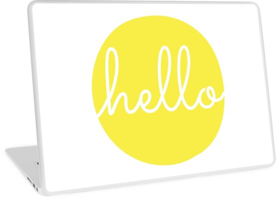 'Hello Yellow Minimalist Dot Modern Cursive Font Design' Laptop Skin by  DesIndie