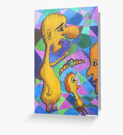 208 - DICKY-BIRD MEETS THE WEIRD GANG - DAVE EDWARDS - COLOURED PENCILS - 2008 Greeting Card
