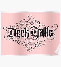 "Elegant Black Christmas Carol 'Deck the Halls"" Calligraphy on pastel Blush Pink Poster"