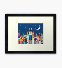 It's A Small World Castle With Moon and Stars Bold Rainbow Color Print and Decor Framed Print