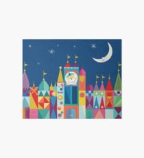 It's A Small World Castle With Moon and Stars Bold Rainbow Color Print and Decor Art Board