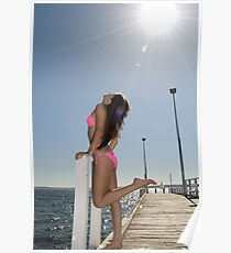 Flirty model soaking up the summer sun Poster