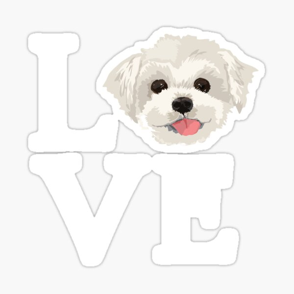 I Love Maltese Dog Lover Cute Doggie Face Sticker