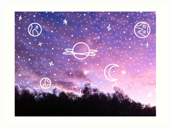 aesthetic tumblr sunset galaxy doodle art prints by lucie duah