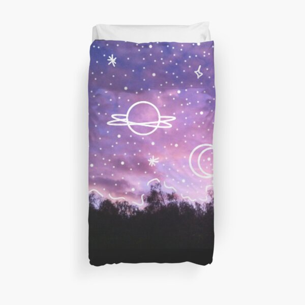 Aesthetic Tumblr Sunset Galaxy Doodle Duvet Cover