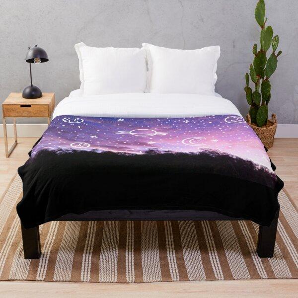 Aesthetic Tumblr Sunset Galaxy Doodle Throw Blanket