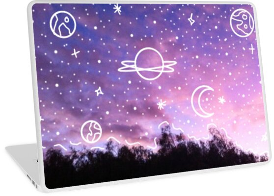 Aesthetic Tumblr Sunset Galaxy Doodle Laptop Skins By Lucie Duah