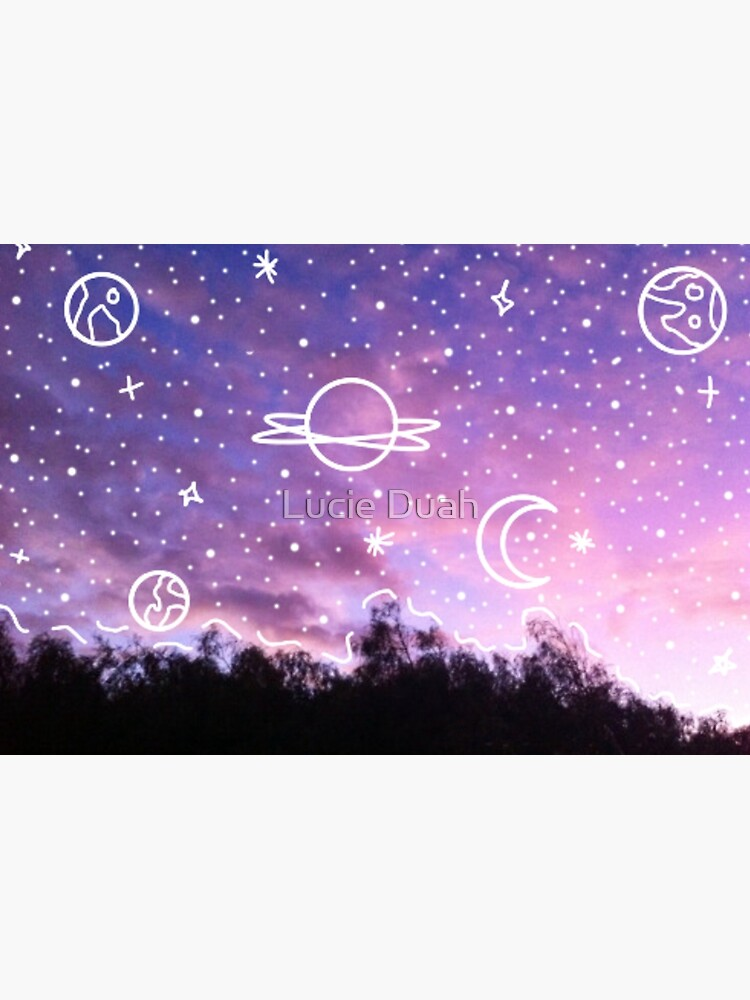 Aesthetic Tumblr Sunset Galaxy Doodle by LucindaDuah
