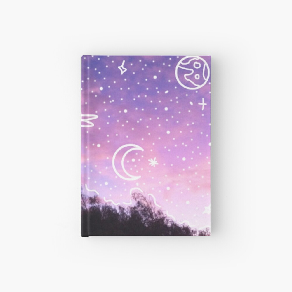 Aesthetic Tumblr Sunset Galaxy Doodle Hardcover Journal