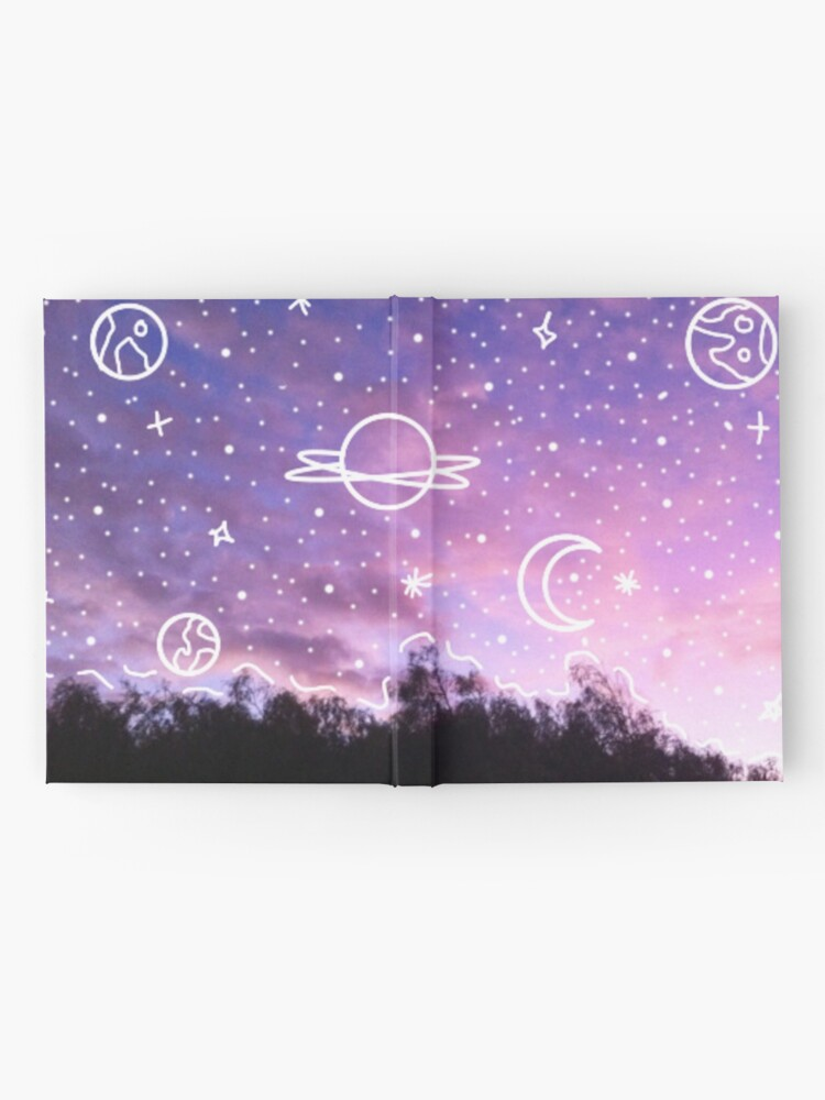 Alternate view of Aesthetic Tumblr Sunset Galaxy Doodle Hardcover Journal
