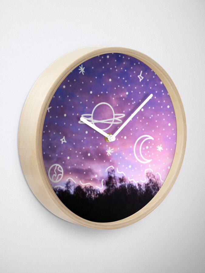 aesthetic tumblr sunset galaxy doodle clock by lucindaduah redbubble redbubble