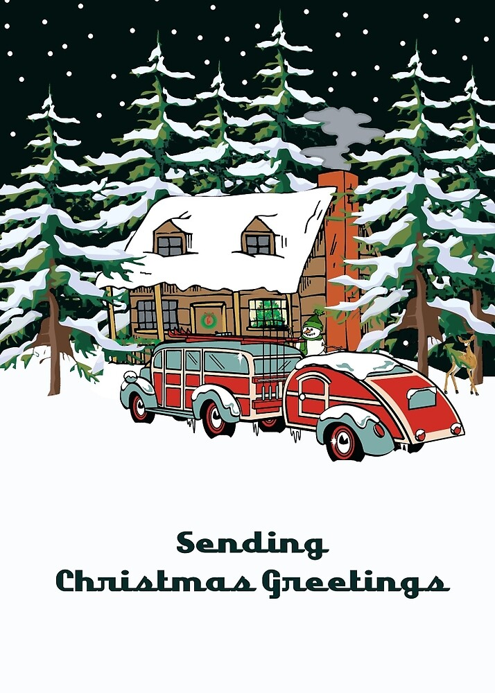 Sending Christmas Greetings Winter Cabin With Woodie by Gear4Gearheads