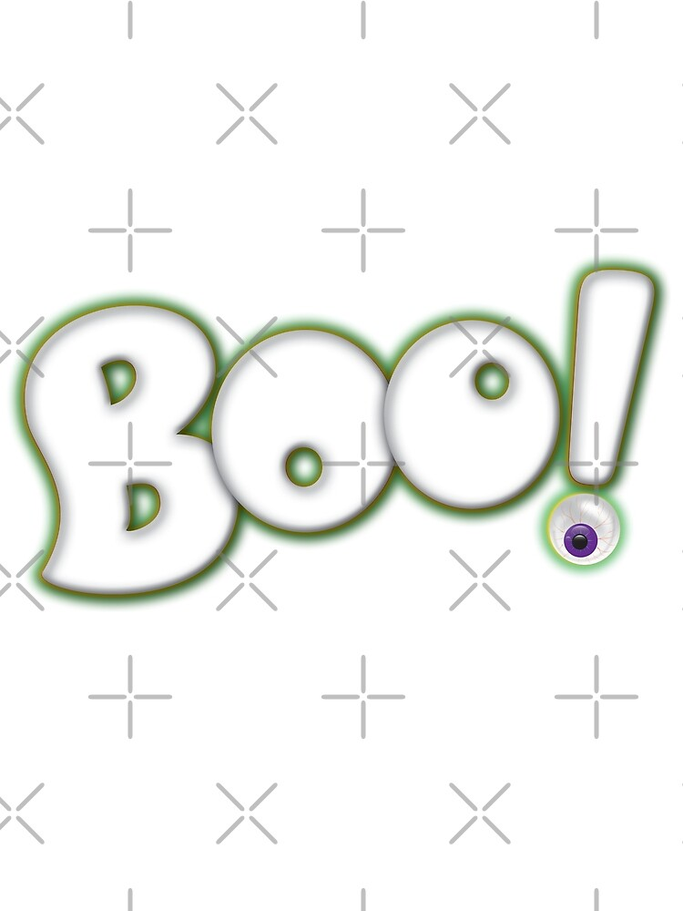 Cartoon Bold Hand Lettering 'Boo' Halloween Typography - with purple eyeball by 26-Characters