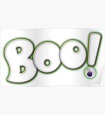 Cartoon Bold Hand Lettering 'Boo' Halloween Typography - with purple eyeball Poster