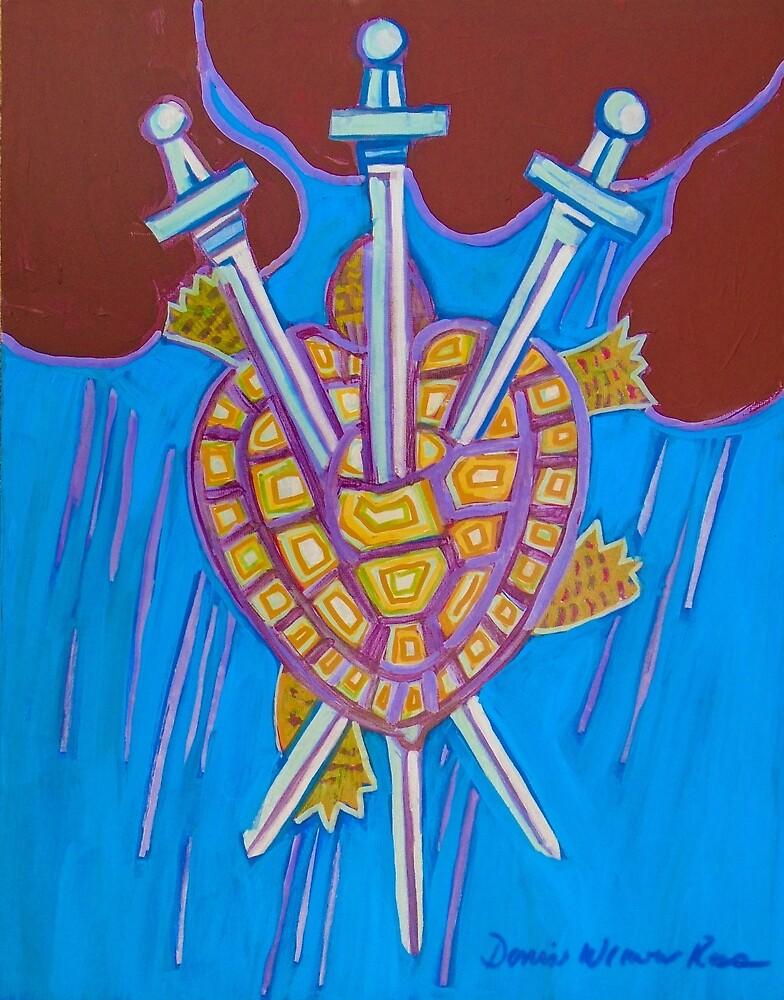 World Turtle Three of Swords by Denise Weaver Ross