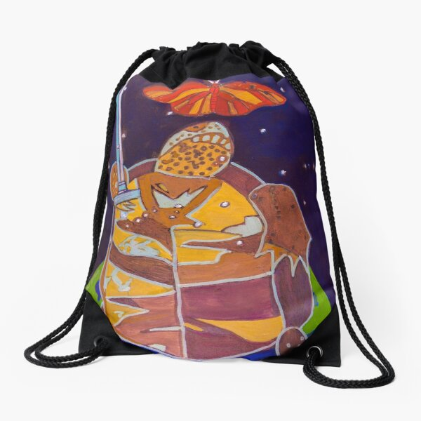 World Turtle King of Swords Drawstring Bag