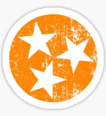 Tennessee Flag Orange and White Distressed Design Sticker