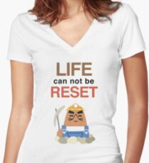 Life Can Not Be Reset! Animal Crossing UNIQLO Resetti Design Women's Fitted V-Neck T-Shirt