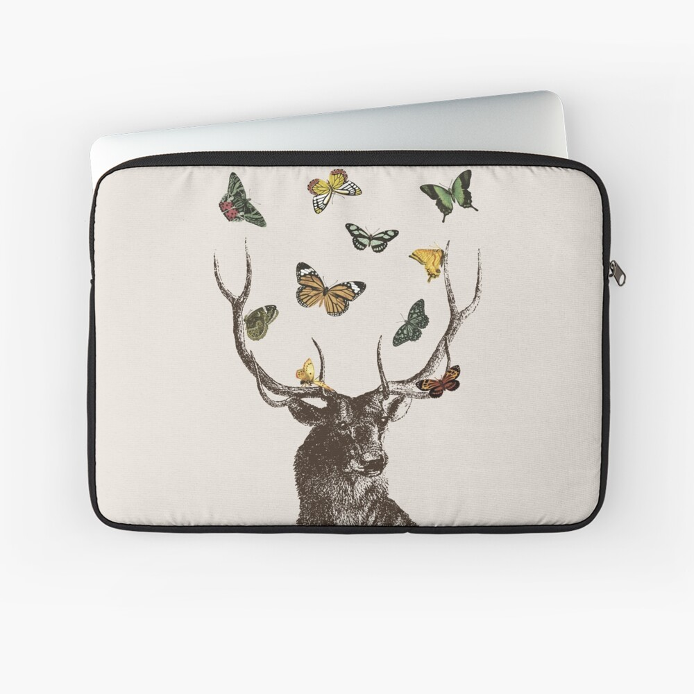 The Stag and Butterflies | Deer and Butterflies | Vintage Stag | Antlers | Woodland | Highland |  Laptop Sleeve