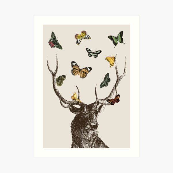 The Stag and Butterflies | Deer and Butterflies | Vintage Stag | Antlers | Woodland | Highland |  Art Print