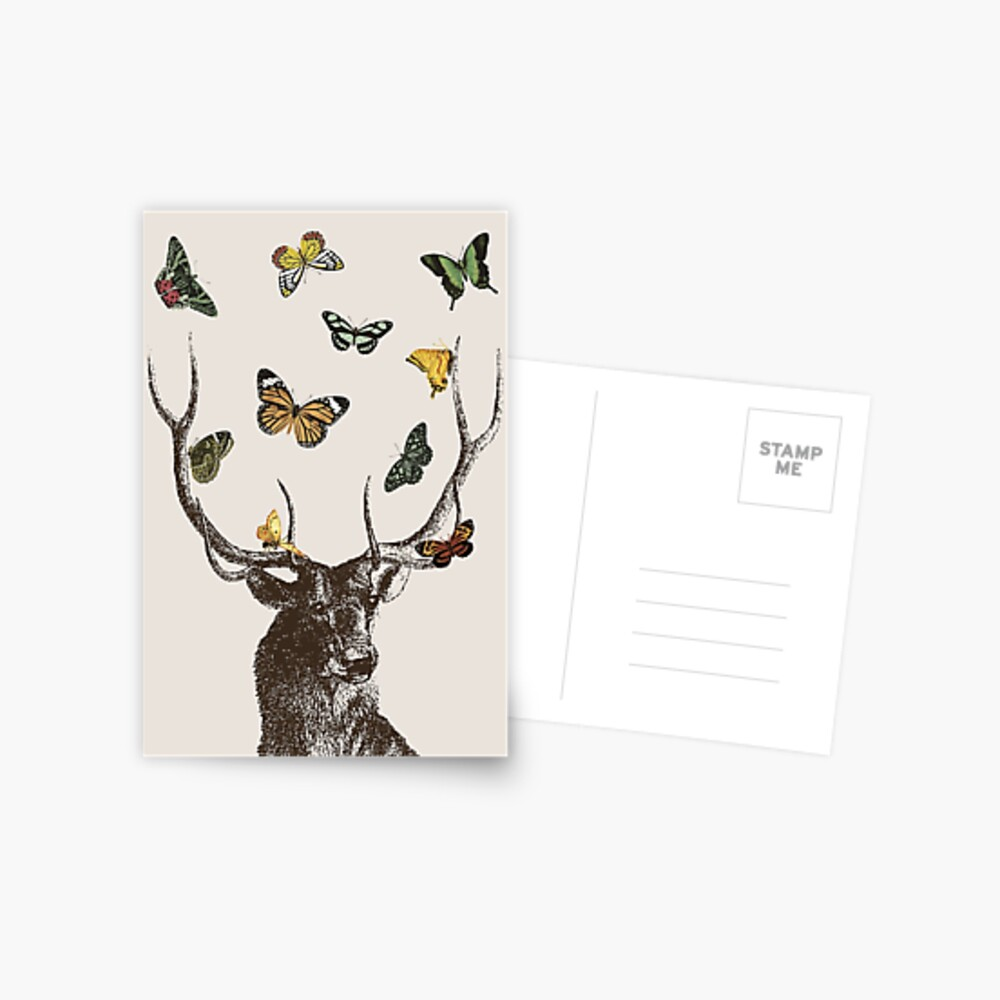 The Stag and Butterflies   Deer and Butterflies   Vintage Stag   Antlers   Woodland   Highland    Postcard