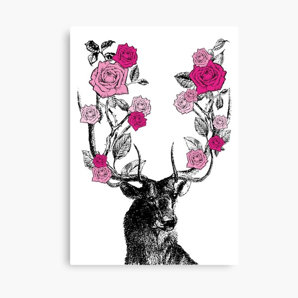 The Stag and Roses | Deer and Roses | Stag and Flowers | Deer and Flowers | Vintage Stag | Antlers | Woodland | Highland | Pink |  Canvas Print