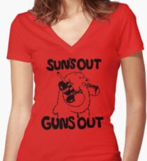 Sun's Out Guns Out Bear Women's Fitted V-Neck T-Shirt