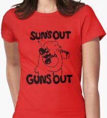 Sun's Out Guns Out Bear Womens Fitted T-Shirt