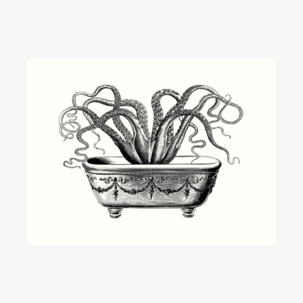 Tentacles in the Tub | Octopus in Bathtub | Vintage Octopus | Black and White |  Art Print