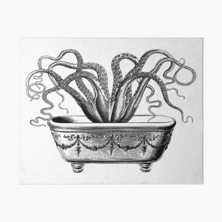 Tentacles in the Tub | Octopus in Bathtub | Vintage Octopus | Black and White |  Art Board Print
