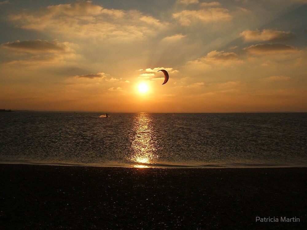 Kite surfing in the sunset by Patricia Martin